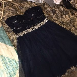 Navy blue strapless hoco dress with sequence